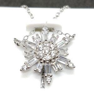 Snowflake cubic zirconia crystal necklace